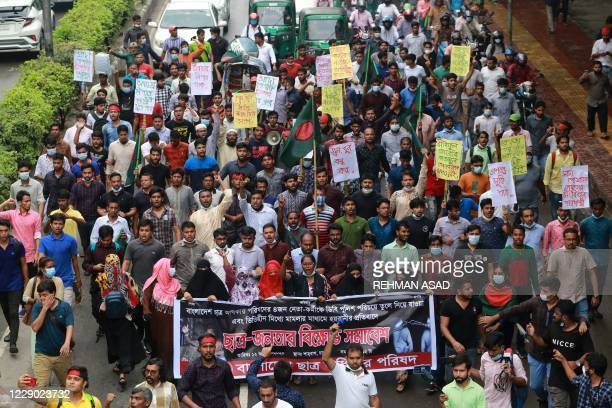 Students take part in a protest march against the arrest of four student leaders over the weekend as authorities seek to suppress the protests, in...