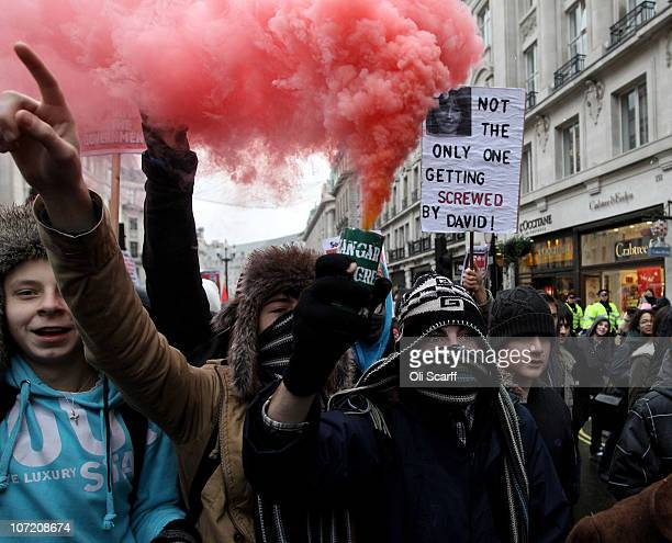 Students take part in a protest over the Government's budget cuts and proposed rise in tuition fees on November 30 2010 in London England Hundreds of...