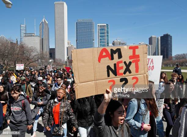Students take part in a rally for National School Walkout Day to protest school violence on April 20, 2018 in Chicago, Illinois. Students from around...