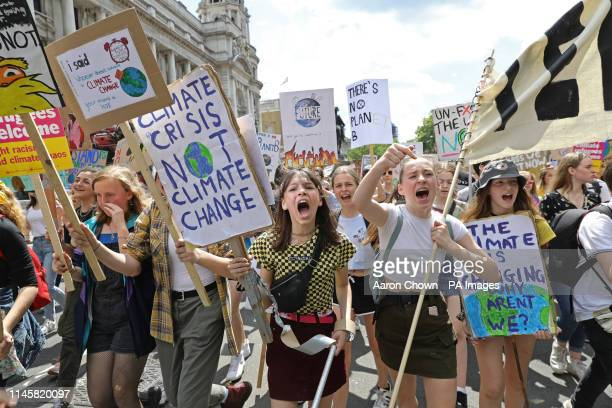 UK students take part in a strike for the climate crisis in Westminster London as demonstrations are planned in towns and cities across the UK as...