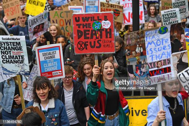 UK students take part in a strike for the climate crisis outside Parliament Square London as demonstrations are planned in towns and cities across...