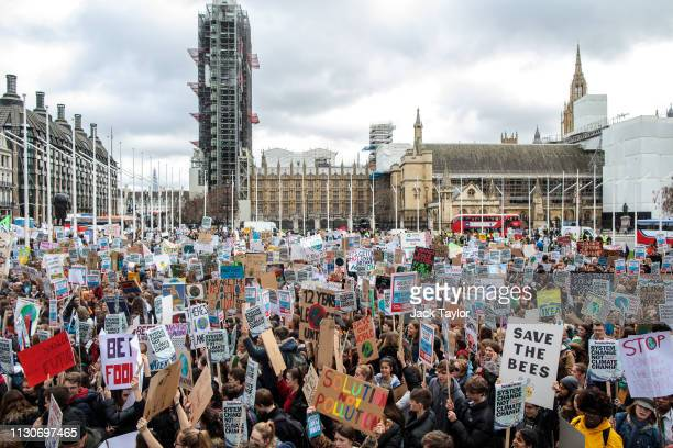 Students take part in a student climate protest on March 15 2019 in London England Thousands of pupils from schools colleges and universities across...