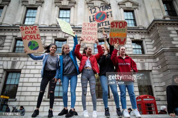Students take part in a student climate protest on March 15, 2019 in London, England. Thousands of pupils from schools, colleges and universities...