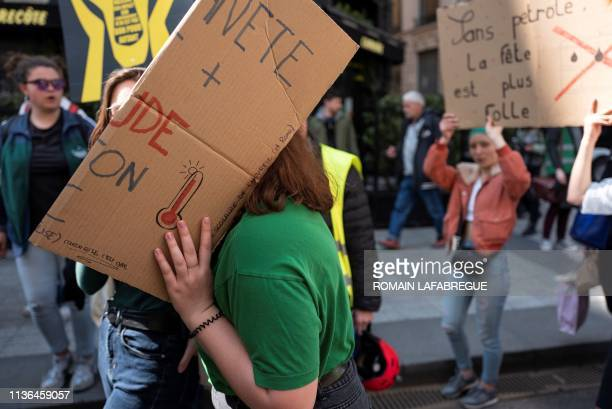 """Students take part in a """"Youth For Climate"""" demonstration, urging pupils to skip classes to protest against a lack of climate awareness, on April 12..."""