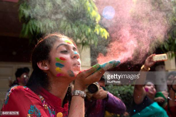 Students take part in an event to celebrate the Hindu festival of Holi in Kolkata on March 7 2017 Holi the popular Hindu spring festival of colours...