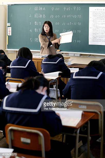 Students take the national achievement examination on April 21 2015 in Fukuoka Japan 222 million students all the third year junior high school and...