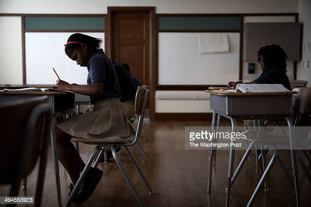 Students take the Terra Nova standardized test in the Ruby Bridges room of the Akili Academy in New Orleans on May 27 2014 The room is named for the...