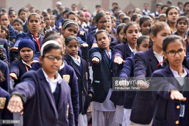 Students taking oath during the Republic Day celebrations at RPVV school in Civil Lines on January 25 2018 in New Delhi India