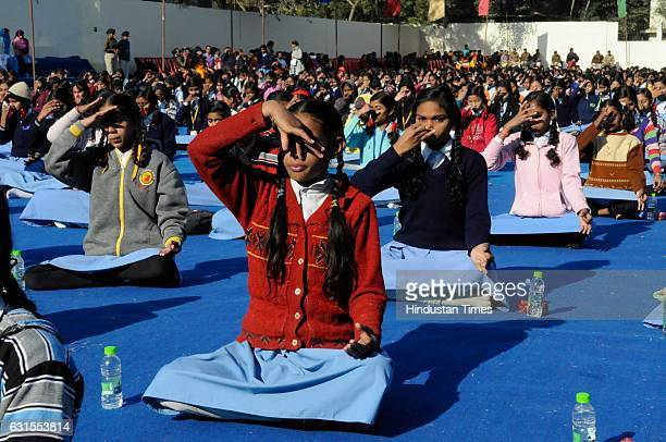 Students taking part in a mass Surya Namaskar at Subhash School of Excellence on January 12 2017 in Bhopal India