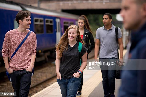 students taking the train