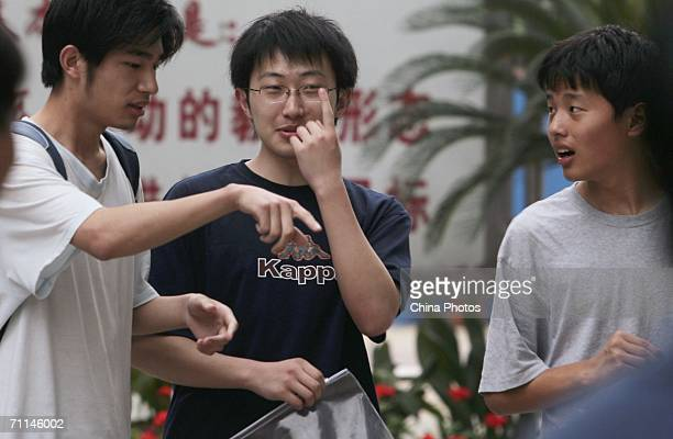 Students talk after taking a test for the annual National College Entrance Examination on June 7 2006 in Nanjing of Jiangsu Province China Some 95...