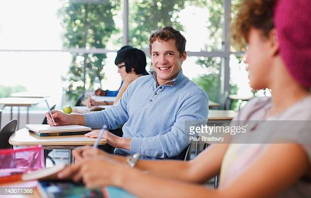 Students talking in class