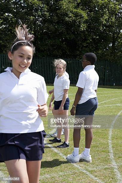 Students talking in P.E. class