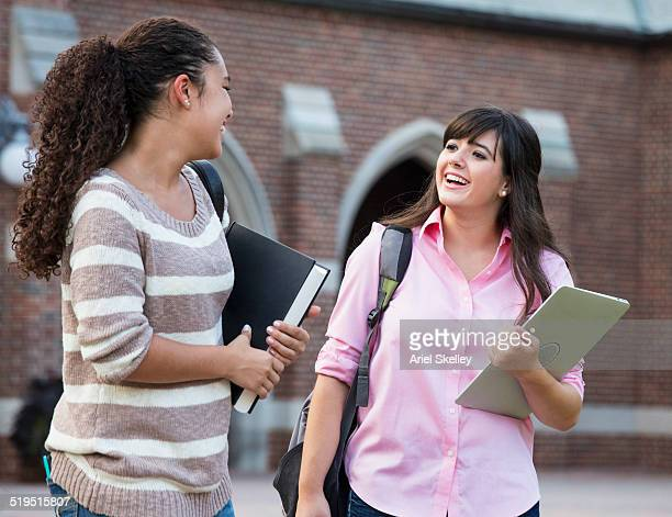 Students talking on campus
