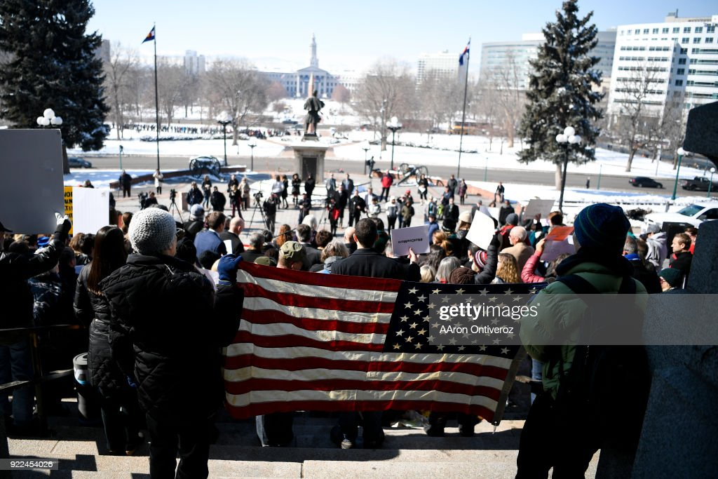 Students, teachers and community members protest guns in response to the Stoneman Douglas High school shooting in Florida at the Colorado State Capitol on Wednesday, February 21, 2018. Seventeen people were shot and killed during the school shooting on February 14, 2018.