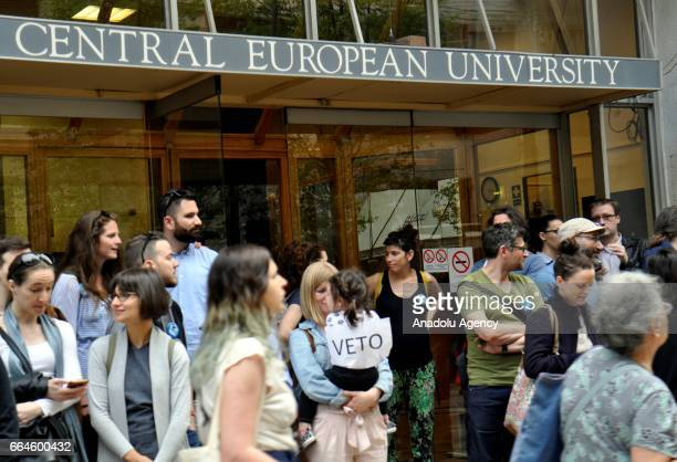 Students teachers of the Central European University stage a demonstration to protest the approval of legislation that could force the closure of...