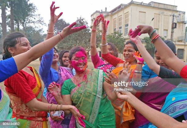 Students throwing color powder onto each other in VisvaBharati University campus during Basanta Utsav to welcome spring The spring is the queen of...