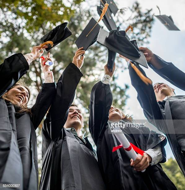 Students throwing mortar board