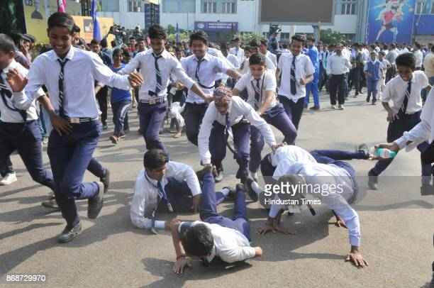 Students toppled on each other during the Run for Unity organized to mark the birth anniversary of Sardar Vallabhbhai Patel on October 31 2017 in...