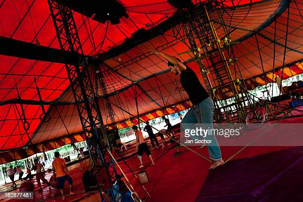 Students train and exercise during the lessons in the circus school Circo para Todos on 2 June 2012 in Cali Colombia Circo Para Todos founded by...