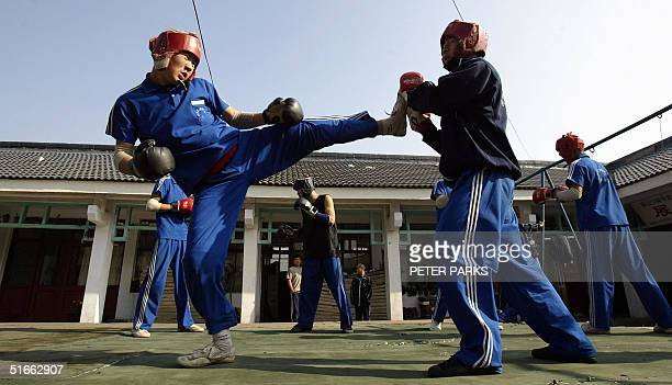 Students train in the art of Xingyi Quan at the famed Shaolin Monestary in Henan province in central China 03 November 2004 Xingyi Quan is also...
