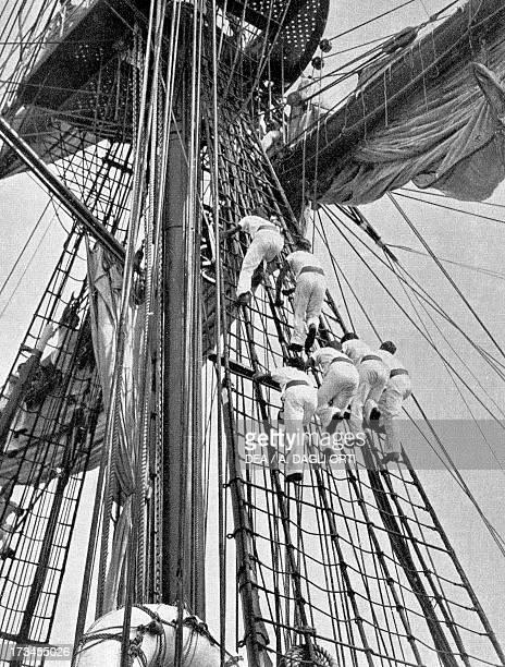 Students training on the Amerigo Vespucci school ship Italy 20th century Genoa Pegli Civico Museo Navale