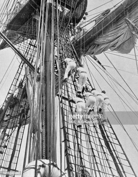 Students training on the School Ship Amerigo Vespucci Italy 20th century