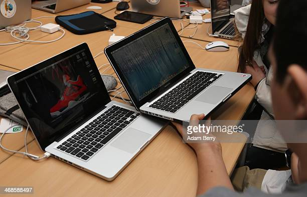 Students use Apple Mac computers at the Friedensburg Oberschule during the tenth annual Safer Internet Day on February 11 2014 in Berlin Germany...