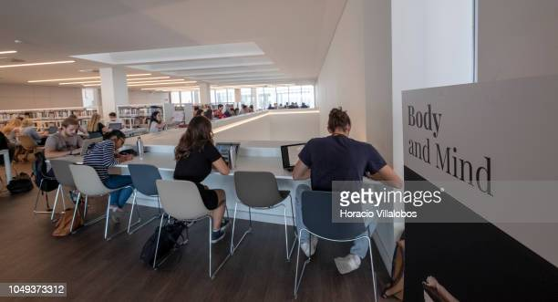Students use their laptops in the library at NOVA School of Business and Economics new campus on October 04 2018 in Carcavelos Portugal Nova SBE is a...
