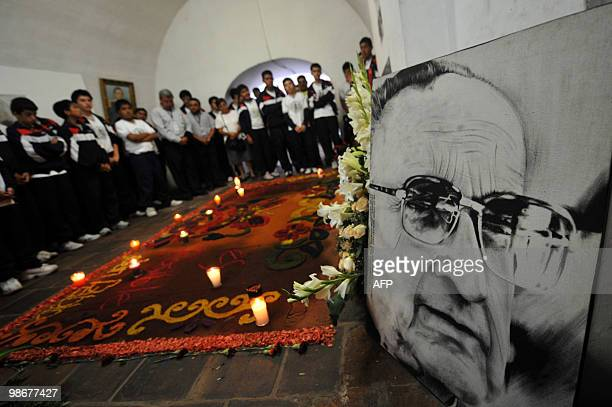Students visit the crypt where Monsignor Juan Jose Gerardi is buried in Guatemala's Metropolitan Cathedral on April 26 2010 in Guatemala City Gerardi...
