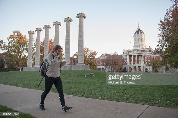 Students walk along on the campus of University of Missouri Columbia on November 10 2015 in Columbia Missouri The university looks to get things back...