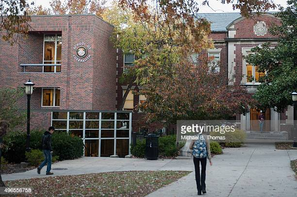 Students walk along outside Gannett Hall at the School of Journalism on the campus of University of Missouri Columbia on November 10 2015 in Columbia...