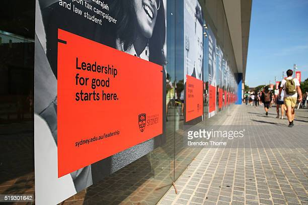 Students walk around Sydney University on April 6 2016 in Sydney Australia Federal Education Minister Simon Birmingham confirming the Government...