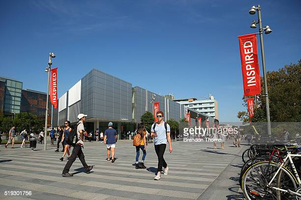 Students walk around Sydney University on April 6 2016 in Sydney Australia Federal Education Minister Simon Birmingham confirming the Government...