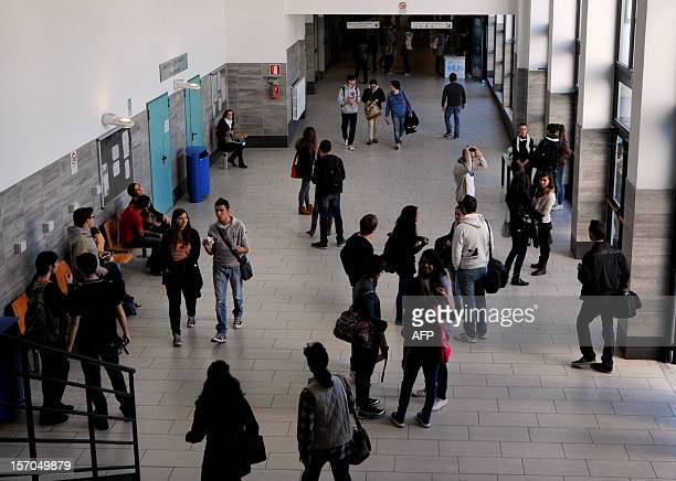 Students walk in a hall of the Roma Tre university on November 7 2012 in Rome About 870 teachers are working in the eight faculties of the University...