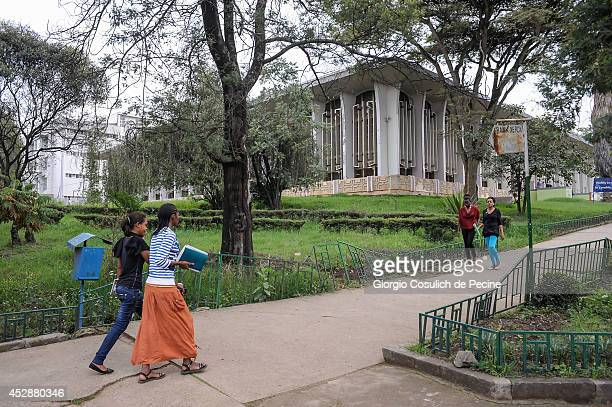 Students walk inside the Addis Ababa University on July 01 2014 in Addis Ababa Ethiopia The Ethiopian government has recently launched a new urban...