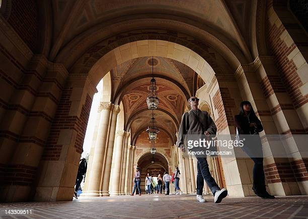 Students walk near Royce Hall on the campus of UCLA on April 23, 2012 in Los Angeles, California. According to reports, half of recent college...