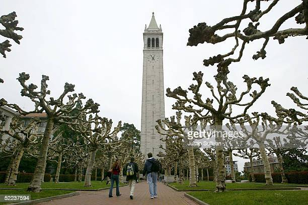 Students walk near Sather Tower on the University of California at Berkeley campus February 24 2005 in Berkeley California The City of Berkeley is...