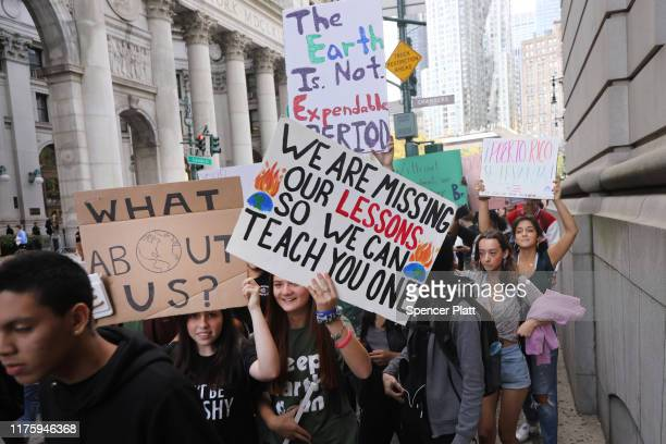 Students walk out of school to take part in a march to demand action on the global climate crisis on September 20 2019 in New York City In what could...
