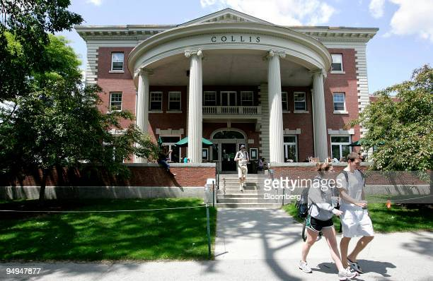 Students walk outside the Collis building on the campus of Dartmouth College the smallest school in the Ivy League in Hanover New Hampshire US on...