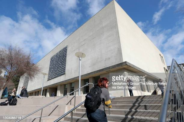 Students walk past UC Berkeley's former Boalt Hall in Berkeley Calif on Thursday January 30 2020 The Law School has removed the name from the...