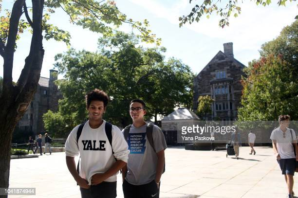 Students walk through the campus of Yale University on the day the US Senate Judiciary Committee was holding hearings for testimony from Dr Christine...