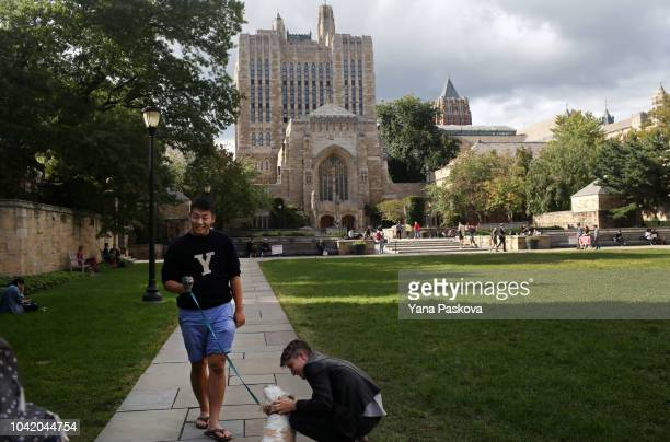 Students walk through Yale University on the day of the Senate hearing with Supreme Court Nominee Brett Kavanaugh and Dr Christine Blasey Ford on...