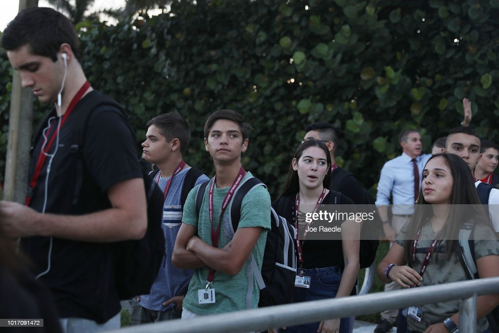 First Day Of School For Students At Marjory Stoneman Douglas High School, Scene Of February Mass Shooting That Killed 17