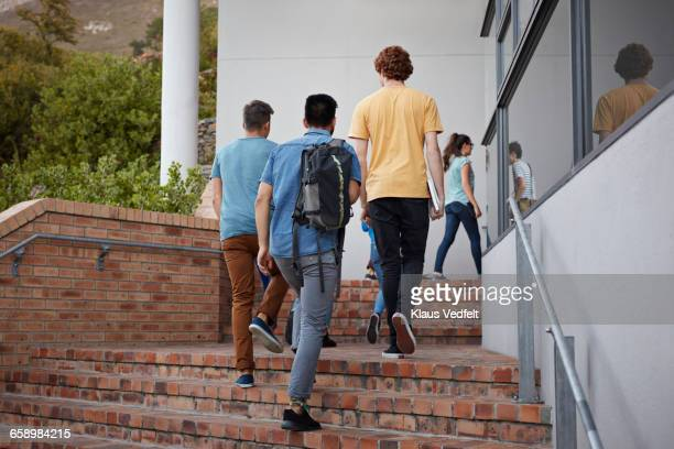 students walking on stairs up to school building - community college stock pictures, royalty-free photos & images