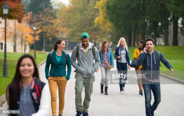 students walking through the park - college student stock pictures, royalty-free photos & images