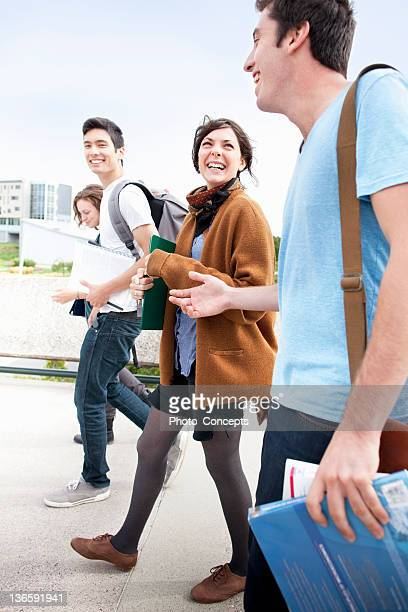 students walking together outdoors - peterborough ontario stock photos and pictures