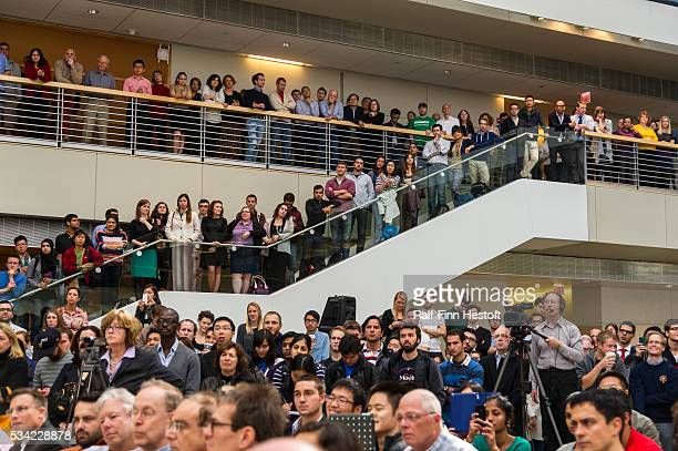 Students watch as University of Chicago professors Eugene F. Fama and Lars Peter Hansen celerate their receip of the 2013 Nobel Prize in Economics....
