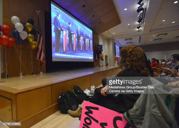 CU students watch the GOP presidential debate watch party in the Glen Miller Ballroom at CU David R Jennings staff photographer October 28 2015 for...