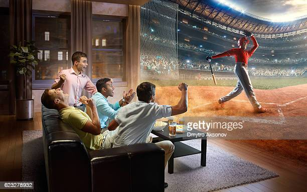 Students watching very realistic Baseball game at home
